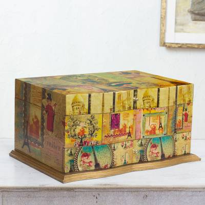 Decoupage jewelry box, 'France in Mexico' - Handcrafted Decoupage Jewellery Box with Mirror and Drawer