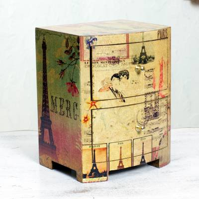 Decoupage jewelry box, 'Carlota's Secret' - Artisan Crafted Wood Decoupage Jewelry Chest