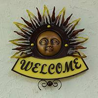 Iron welcome sign, 'Warm Mexican Sun' - Iron Mexican Sun in Hand Crafted Welcome Sign for Wall