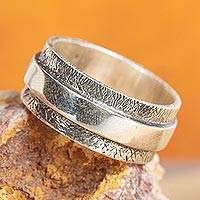 Men's sterling silver band ring, 'United As One' - Mexican Men's Handmade Taxco Silver Band Ring