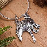 Sterling silver pendant necklace, 'Dream Stallion' - Handcrafted Horse Theme Sterling Necklace from Mexico