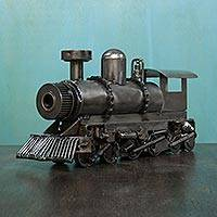 Iron sculpture, 'Rustic Locomotive' - Collectible Steam Engine Train Recycled Metal Sculpture
