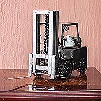 Auto parts sculpture, 'Rustic Forklift' - Collectible Recycled Auto Parts and Metal Sculpture
