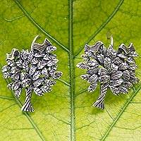 Sterling silver drop earrings, 'Abundance' - Artisan Crafted Tree Theme Mexican Silver Drop Earrings