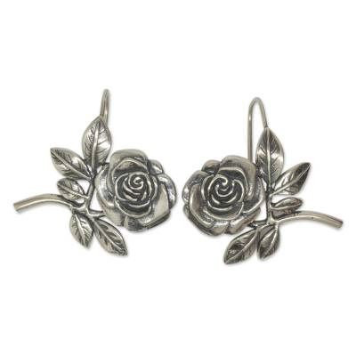 Handmade Sterling Silver Floral Earrings from Mexico