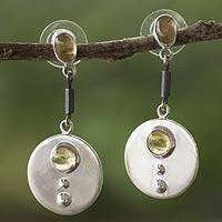 Citrine dangle earrings, 'Honey' - Artisan Crafted Mexican Silver and Citrine Earrings