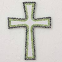 Glass mosaic cross, 'Nature's Colors' - Artisan Crafted Upcycled Glass Mosaic Wall Cross