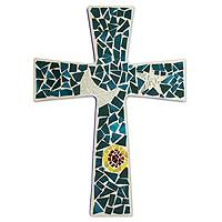 Glass mosaic cross, 'Heaven' - Artisan Crafted Recycled Blue Glass Mosaic Wall Cross