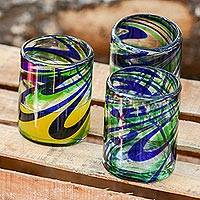 Blown glass rocks glasses, 'Elegant Energy' (set of 6)
