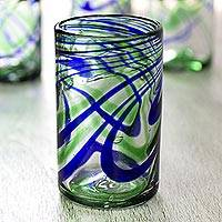 Blown glass tumbler glasses, 'Elegant Energy' (set of 6) - Set of 6 Hand Made Blown Glass Tumblers in Blue and Green
