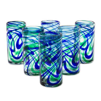 Blown glass highball glasses, 'Elegant Energy' (set of 6) - Set of 6 Hand Made Blown Glass Mexican Highball Glasses