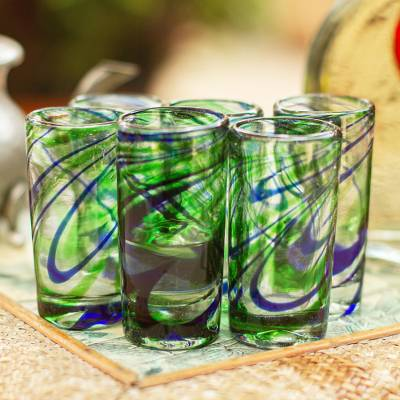 Blown glass tequila shot glasses, 'Elegant Energy' (set of 6) - Set of 6 Hand Blown Blue and Green Tequila Shot Glass