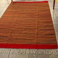 Zapotec wool rug, 'Fire Walk' (4x6.5) - Eco Friendly Handwoven Authentic Zapotec Rug