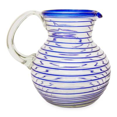 Blown glass pitcher, 'Blue Spiral' - Mexican Handblown Recycled Glass Blue Stripe Pitcher