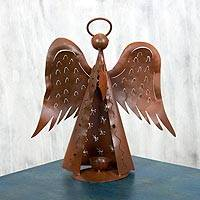 Iron candleholder, 'Angel Halo' - Handcrafted Candleholder Angel Iron Sculpture