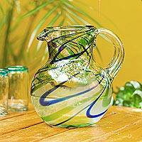 Blown glass pitcher, 'Elegant Energy' - Blue and Green Swirls Hand Blown Glass Pitcher (84 oz)