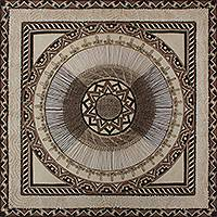 Amate paper wall art, 'Sun Mandala' - Aztec Style Mandala Painted with Natural Dyes on Amate Paper