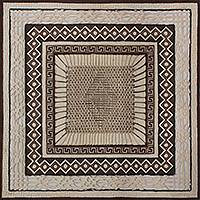 Amate paper wall art, 'Rhombus Mandala' - Signed Amate Paper Wall Art with Aztec Patterns