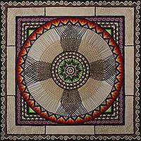 Amate paper wall art, 'Flower of Faith Mandala' - Multi Color Amate Paper Wall Art Signed Painting