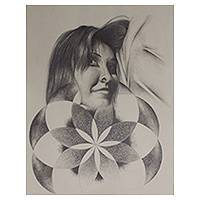 'Flower' - Graphite on Paper Woman with Flower Signed Painting