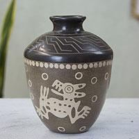 Ceramic vase, 'Aztec Coyotes' - Hand Crafted Pre-Hispanic Style Decorative Ceramic Vase