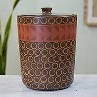 Decorative ceramic jar, 'Sunset' - Brown Red Artisan Crafted Ceramic Decorative Jar from Mexico