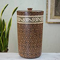 Decorative ceramic jar, 'Waves' - Hand Crafted Ceramic Decorative Jar from Mexico