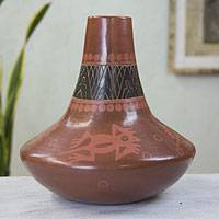 Ceramic decorative vase, 'Aztec Frogs' - Animal Themed Decorative Ceramic Vase Crafted by Hand