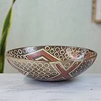 Ceramic centerpiece, 'Michoacan Celebration' - Hand Crafted Aztec Design Ceramic Centerpiece from Mexico