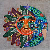 Ceramic wall adornment, 'Happy Eclipse' - Sun and Moon Hand Crafted Multicolor Ceramic Wall Adornment