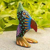Alebrije wood statuette, 'Friendly Dolphin' - Artistic Dolphin Alebrije Wood Sculpture Crafted by Hand
