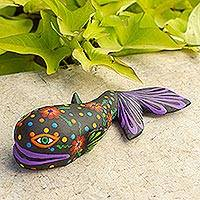 Alebrije wood statuette, 'Flirty Whale' - Flowery Whale Alebrije Wood Sculpture Crafted by Hand