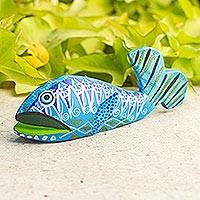 Alebrije wood statuette, 'Aztec Whale' - Alebrije Whale Wood Sculpture Painted by Hand