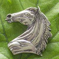 Sterling silver brooch pendant, 'Proud Mare' - Artisan Crafted Sterling Silver Horse Brooch Pendant