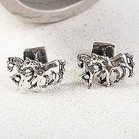 Sterling silver cufflinks, 'Equine' - Men's Jewelry Sterling Silver Cufflinks Two-in-One Horses