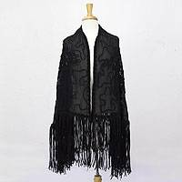 Organza shawl, 'Serenade' - Vintage Style Black Organza Lacy Shawl Wrap from Mexico