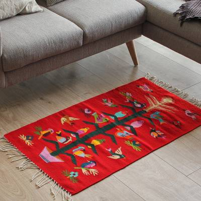 Zapotec wool rug, Scarlet Staff of Life (2x3.5)