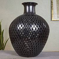 Ceramic vase, 'Ebony Rain' - Unique Hand Made Incised Black Pottery Vase from Mexico