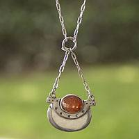 Sunstone pendant necklace, 'Libra in Orange' - Libra Sunstone Pendant Necklace in Sterling Silver