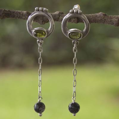 Peridot and smokey quartz dangle earrings, 'Enchanted Malinalco Birds' - Hand Crafted Sterling Silver and Multi Gemstone Earrings