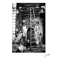 'Old Cairo' - Egyptian Woman and Hookah Black and White Photograph