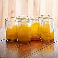 Blown glass tumblers, 'Orange Splash' (set of 6) - Fair Trade Handblown Orange Glass 16 oz Drinkware Set of 6