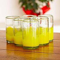 Blown glass tumblers, 'Yellow Splash' (set of 6) - Fair Trade Handblown Yellow Glass 16 oz Drinkware Set of 6