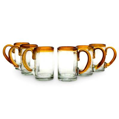 Blown glass beer glasses, 'Amber Beer' (set of 6) - Hand Blown Beer Glasses with Amber Handle and Rim (Set of 6)