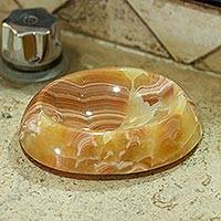 Onyx soap dish, 'Onyx Bubble' - Peach Onyx Soap Dish Hand Crafted in Mexico