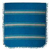Zapotec cotton bedspread, 'Zapotec Sky' (king) - Hand Woven Blue Beige Striped Cotton Bedspread King Size