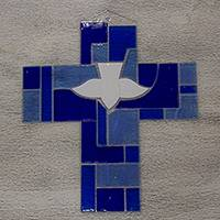 Art glass wall cross, 'Spirit of Peace' - Hand Crafted Blue Glass Cross with Holy Ghost Religious Art