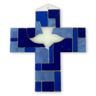 Hand Crafted Blue Glass Cross with Holy Ghost Religious Art
