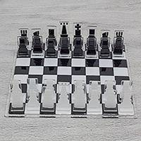 Art glass chess set, 'Crystalline Challenge' - Chess Set in Black and White Art Glass Crafted by Hand