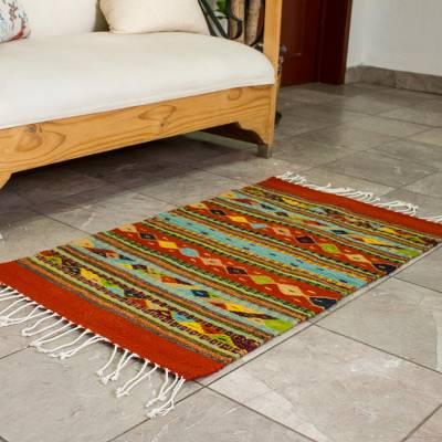 Zapotec wool rug, 'Festive Diamonds' (2x3.5) - Genuine Zapotec Handwoven Rug with Natural Organic Dyes